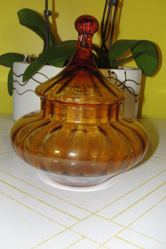 Lantern shaped Amber Glass Covered Dish - b23
