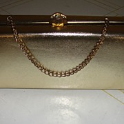 Gold Lame Evening Bag with Rhinestone Clasp