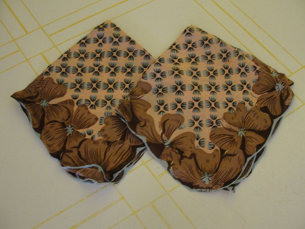 Brown and Blue Scalloped Edge Hankies - Free shipping