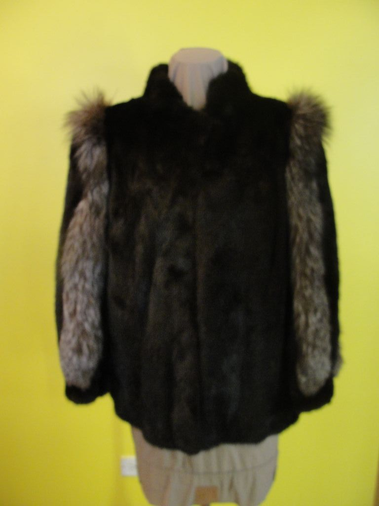 Espresso Brown Mink with Fox Fur jacket