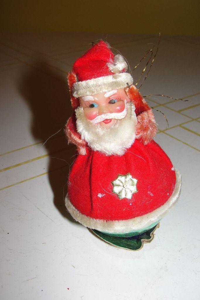 Celluloid Santa on Glass Christmas Tree Ornament