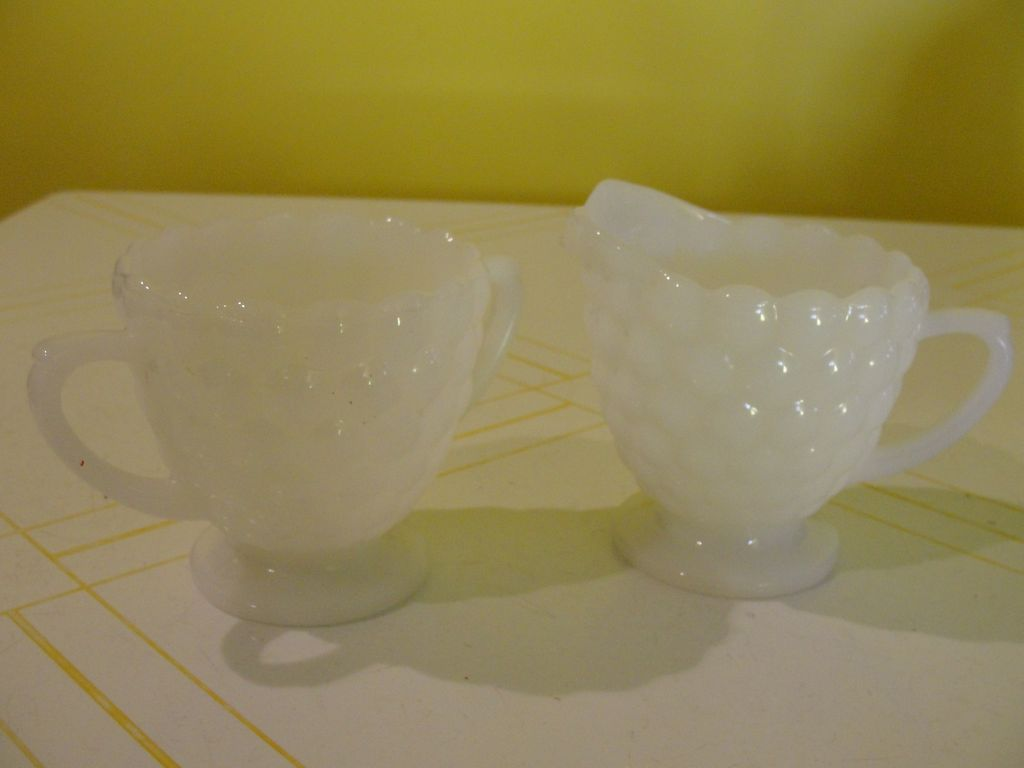 Bubble Milk Glass Creamer and Sugar Bowl - b24