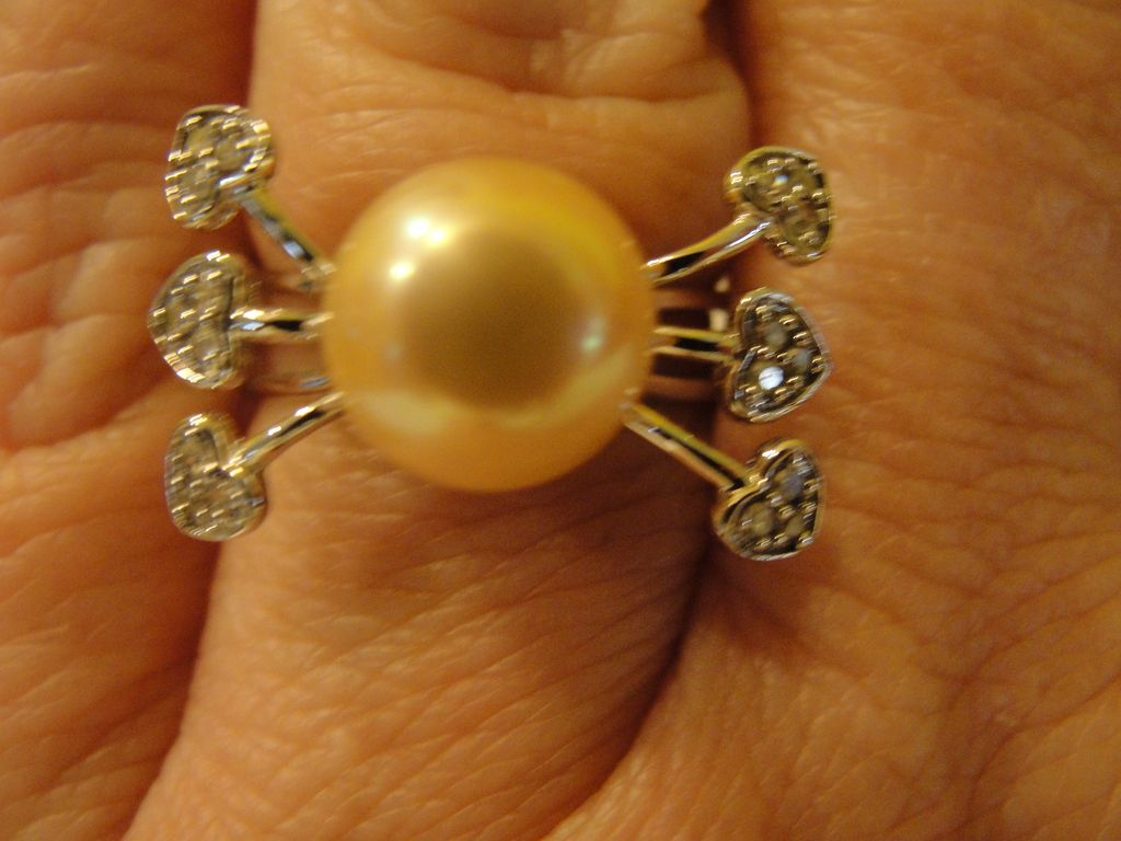 Champagne Pearl with Diamond Hearts 14K White Gold Ring - Free Shipping