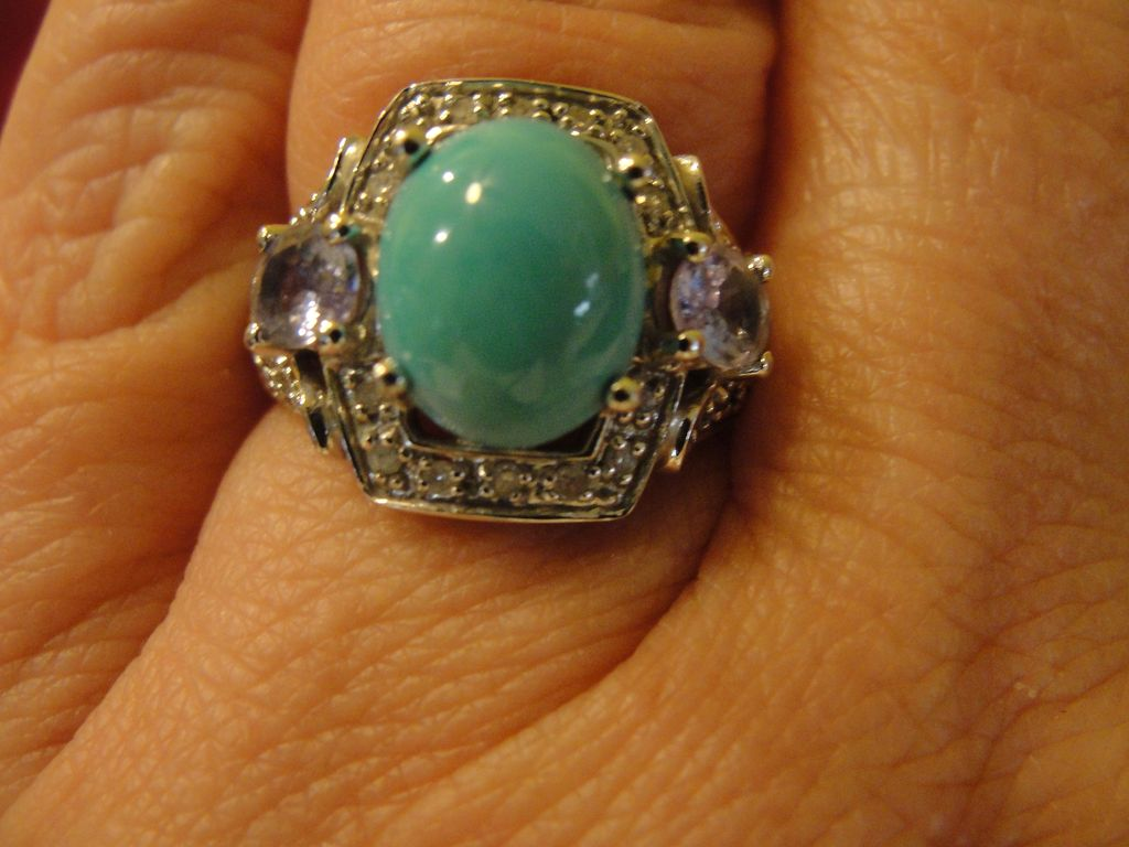 Turquoise, Tanzanite and Diamond Accent 10K White Gold Ring - Free Shipping