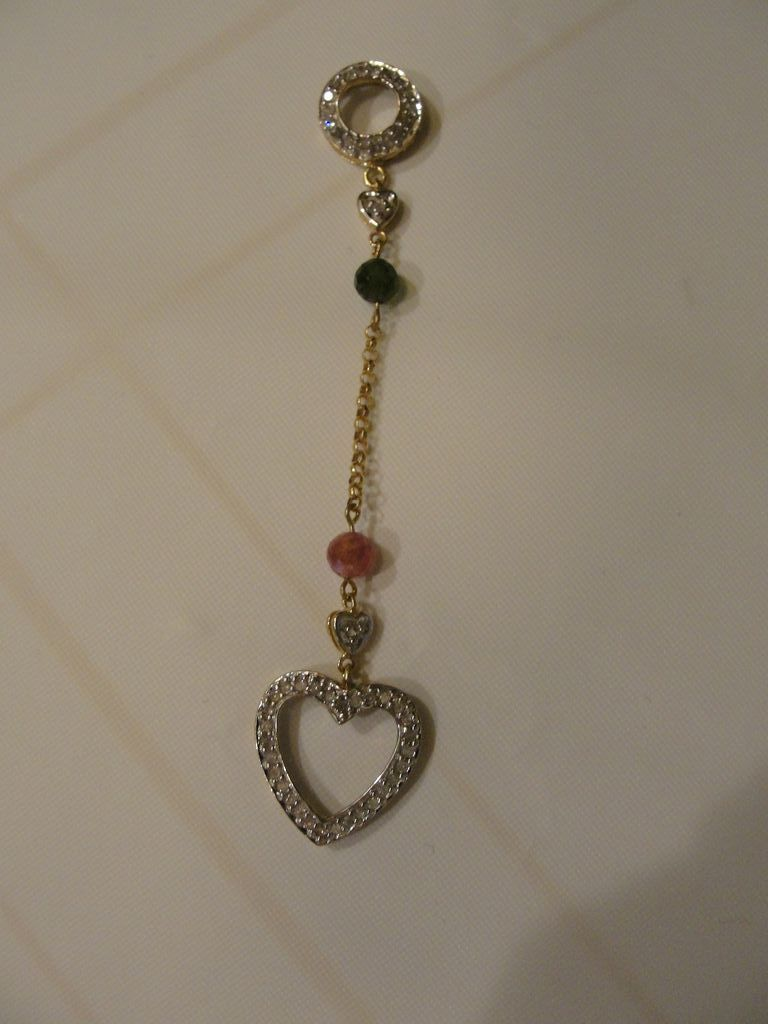 Straight to the Heart Green and Pink Tourmaline 10k Yellow Gold Pendant