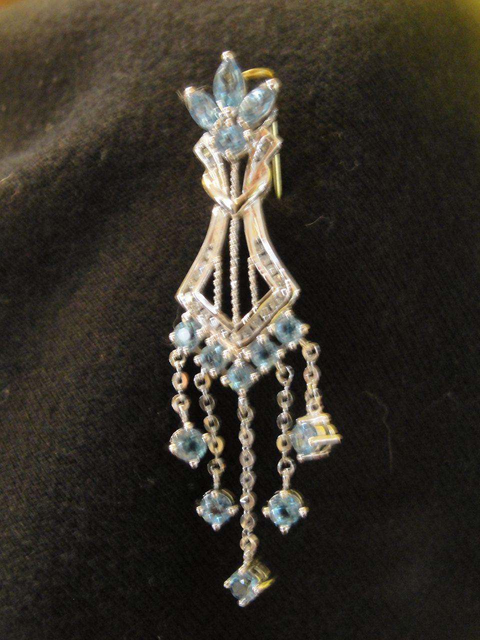 Brilliant Blue Topaz with diamond Accent 10K White Gold Pendant - Free Shipping