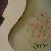 "Fenton Hand painted ""Pink Blossom"" on Custard Satin Vase - b27"