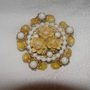 Peach Enamel and Faux Pearl Brooch - Free shipping