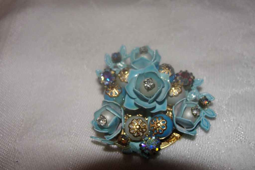 Blue is Better Beads and Roses Brooch - Free Shipping