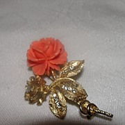 BSK Dew Kissed Golden Leaves Peach Rose Pin - Free Shipping