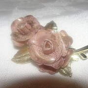 Gold Kissed Roses on Gold Tone Leaves Pin - Free Shipping