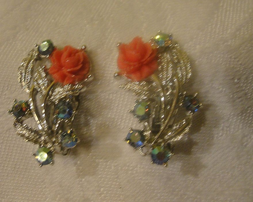 Roses with Aurora Borealis Clip-on Earrings - Free Shipping