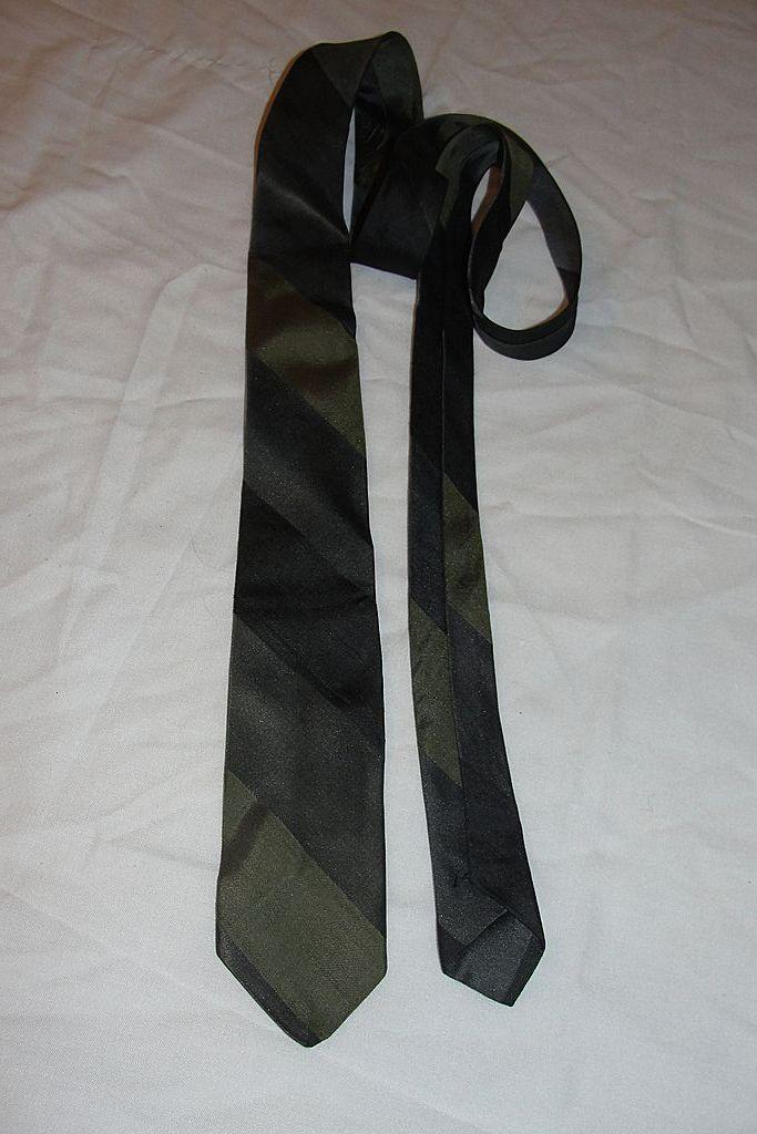 Green Stripe Skinny Tie - Free Shipping