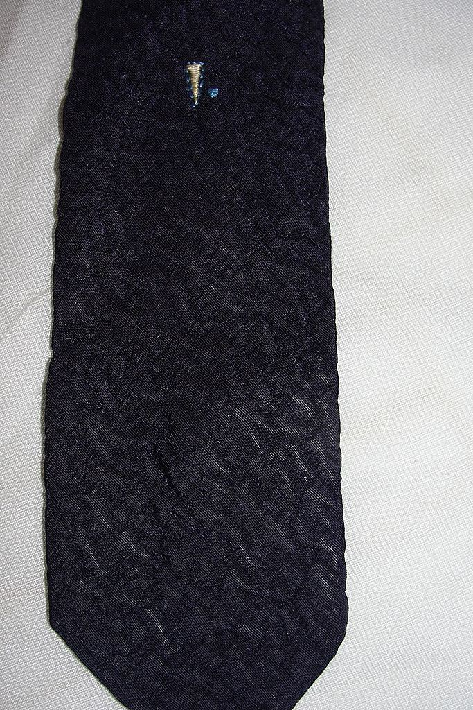 Textured Navy Blue Skinny Tie - Free shipping