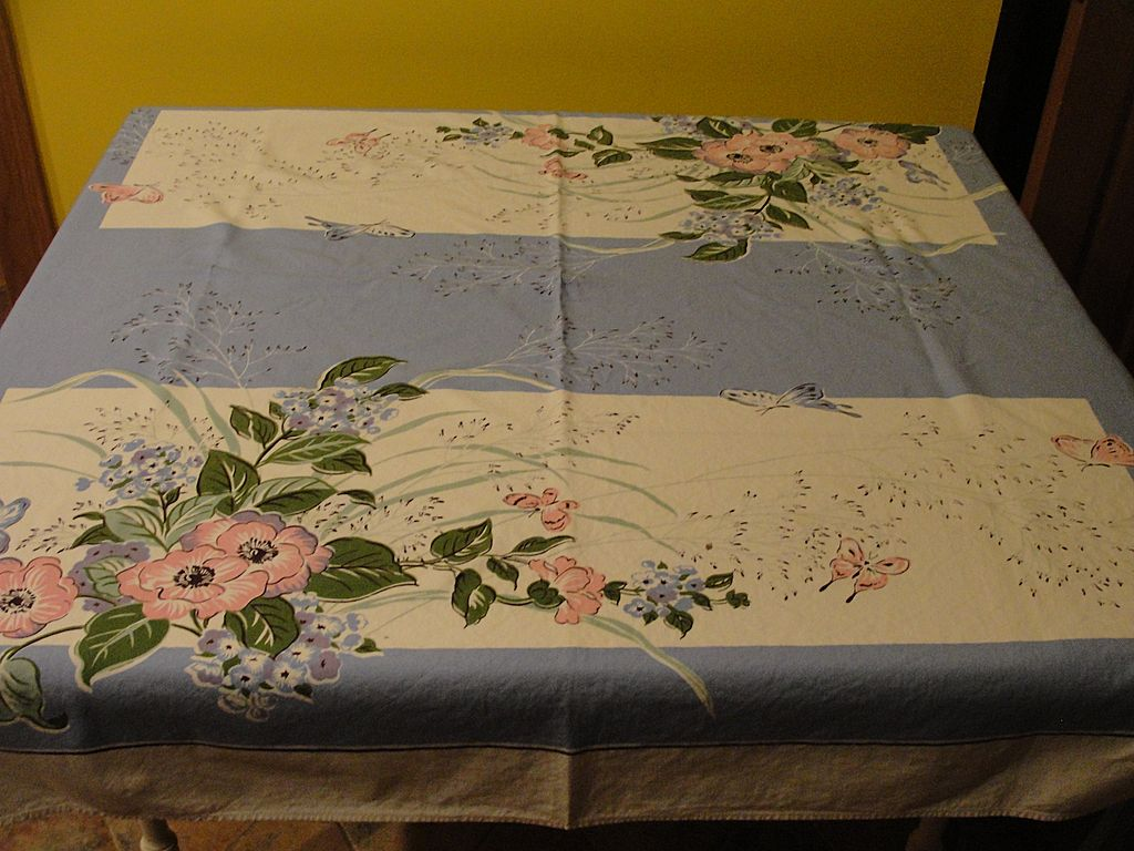 Pink and Blue Butterflies and Flowers Tablecloth
