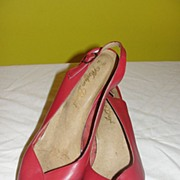 Red Leather Peep Toe Low Heel Shoes size 8 1/2 - b34