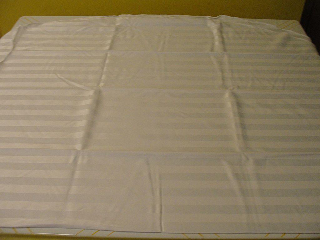 White on White Stripe Round Tablecloth