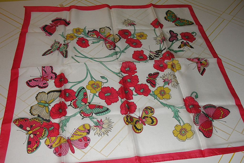 Butterflies with Red Border Scarf - Free shipping