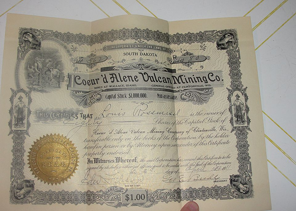 Coeur'd Alene Vulcan Mining Co 80 Share Stock Certificate #562
