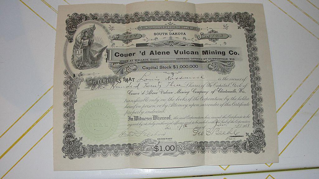 123 Shares Coeur'd Arlene Vulcan Mining Stock Certificate #1004