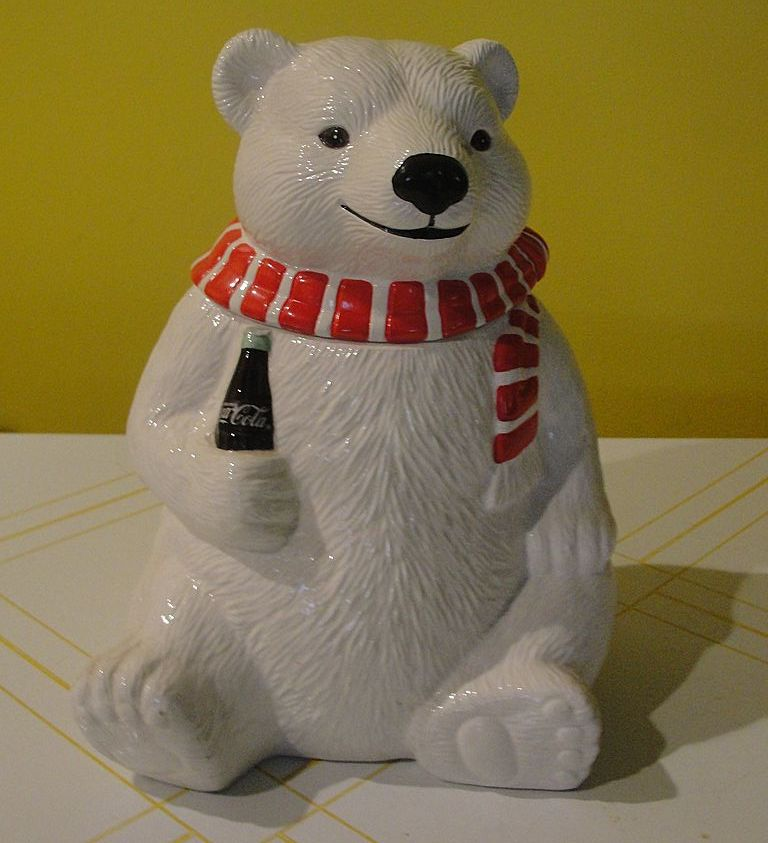 Coke Bear with Red and White Scarf Cookie Jar