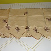 Embroidered Flower Linen Table runner and Cocktail Napkins