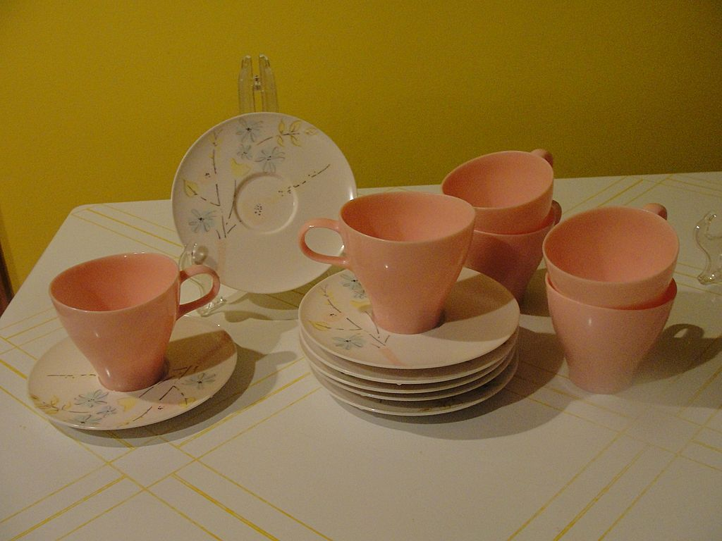 Poodle Pink Cups and Print Saucer Mid-century ''Lucent'' Raymond Loewy Melmac/melamine Dishes