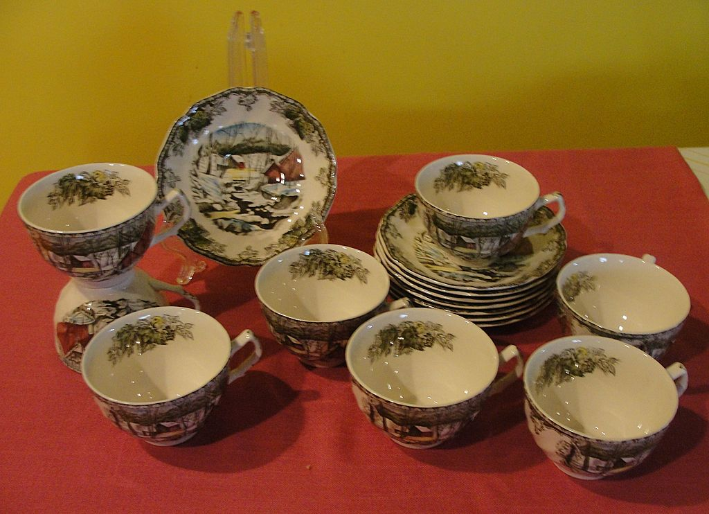 Johnson Brothers ''The Friendly Village'' Coffee Cups and Saucers Made in England