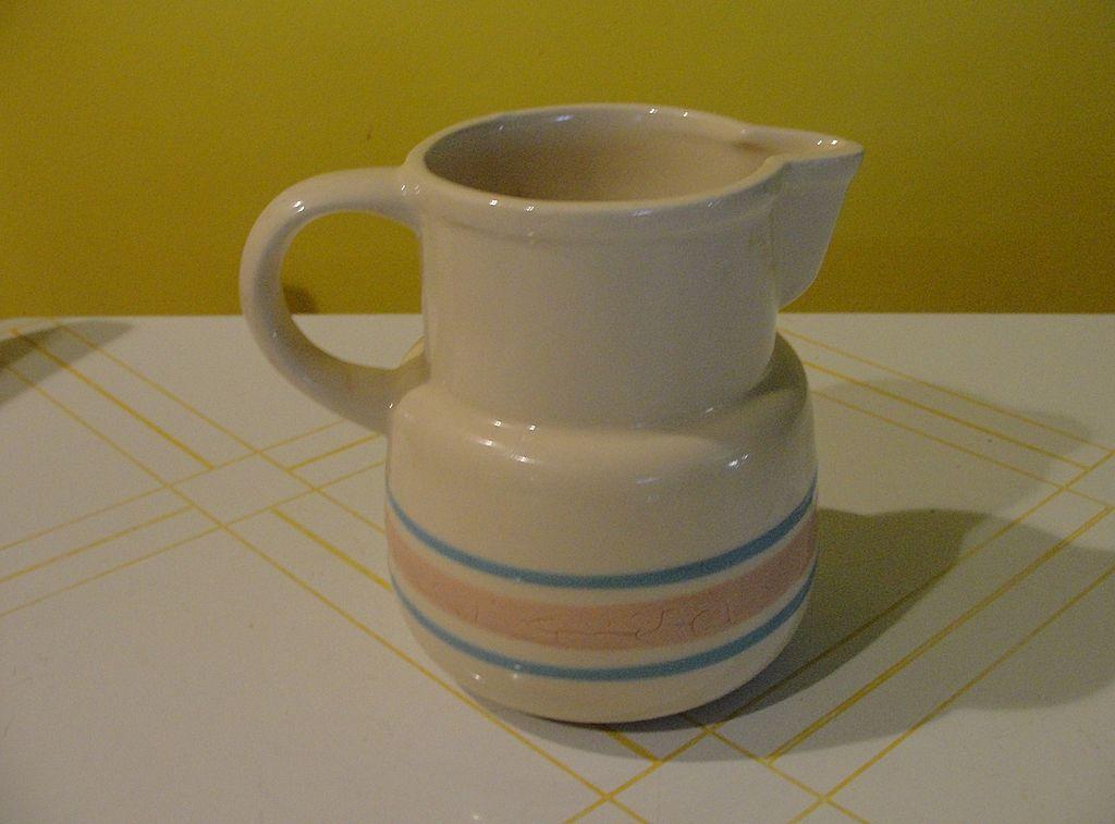 McCoy Pink and Blue Striped Milk Jug 132 - b23