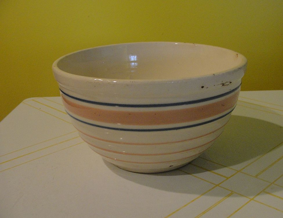 Pink and Blue Striped Mixing Bowl 6 1/2''