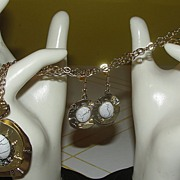 Big Bold 80's Pendant and J-hook Earrings - Free Shipping