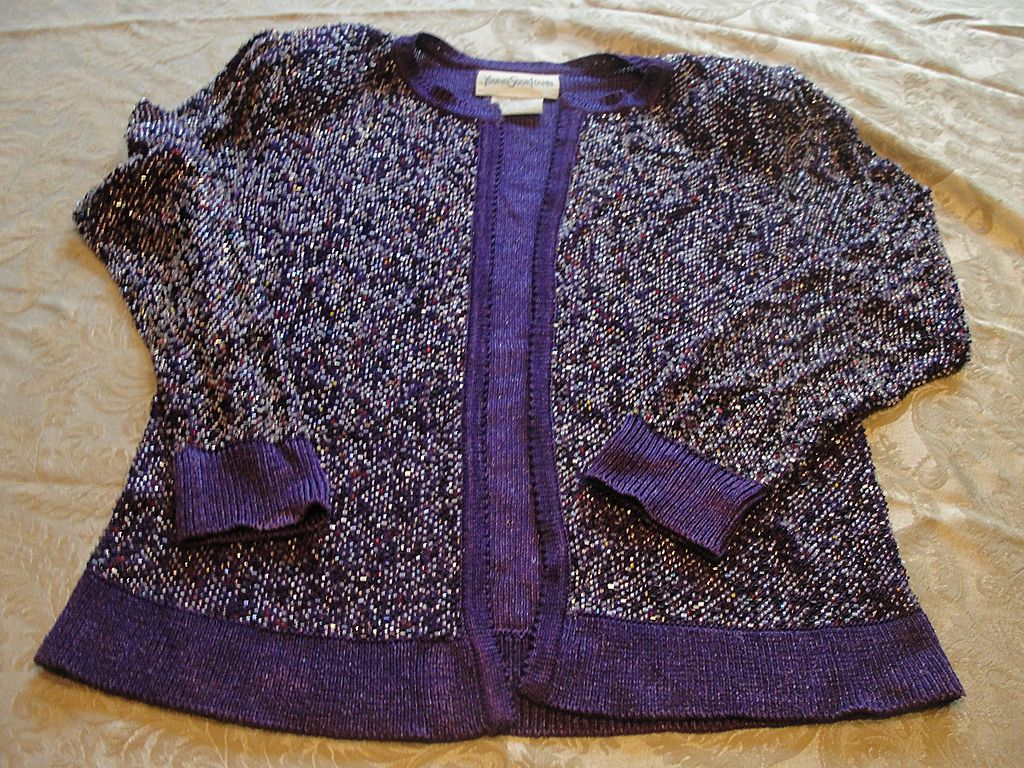 Passionate Purple Beaded Young Sook Hahn Sweater/jacket - b30