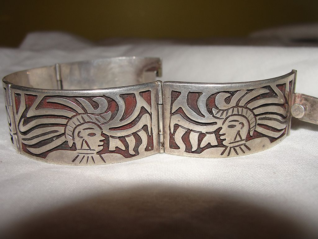 Mayan warrior Mexican silver Bracelet - free shipping