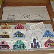 9 Piece Alpine Village in Cardboard Box - b42