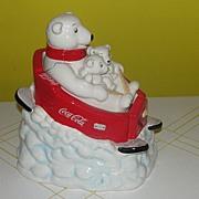 Coke Bear with Babies on Sled Cookie Jar