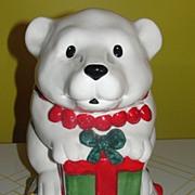 Bells and Lights Polar bear on igloo Cookie Jar