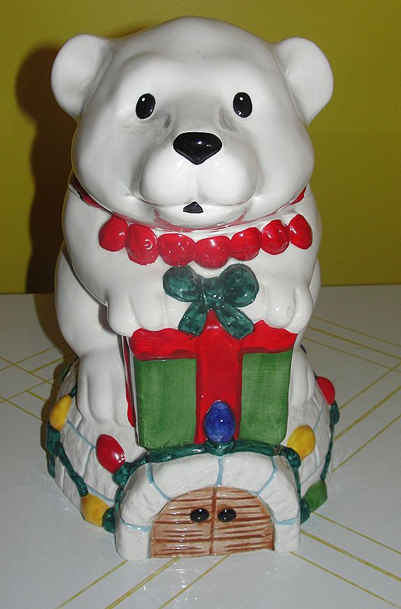 Bells and Lights Polar bear on igloo Cookie Jar