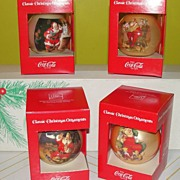 Coke Santa Christmas Ornaments in Box #1 - b41