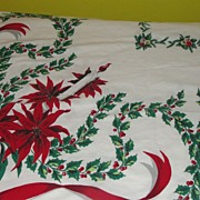 Candles and Poinsettias Tablecloth - b54