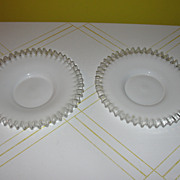 Czech Milk glass with Clear ruffle Plates - b34