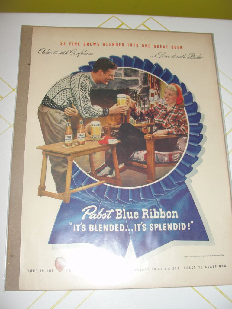 Pabst Blue Ribbon before it was PBR1946 Ad