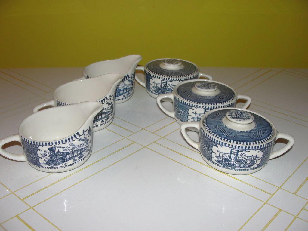 Royal China Currier & Ives Creamer and Cover Sugar Bowl