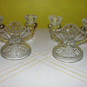Jeanette Glass Iris and Herringbone 2-Lite Candleholders - b25 - b31 - b43