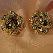 Sarah Coventry Fancy filigree Aurora borealis Clip-on Earrings - Free shipping