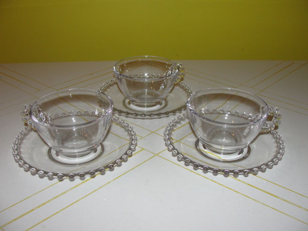 Candlewick Beaded Handle Cups and Saucers - b43