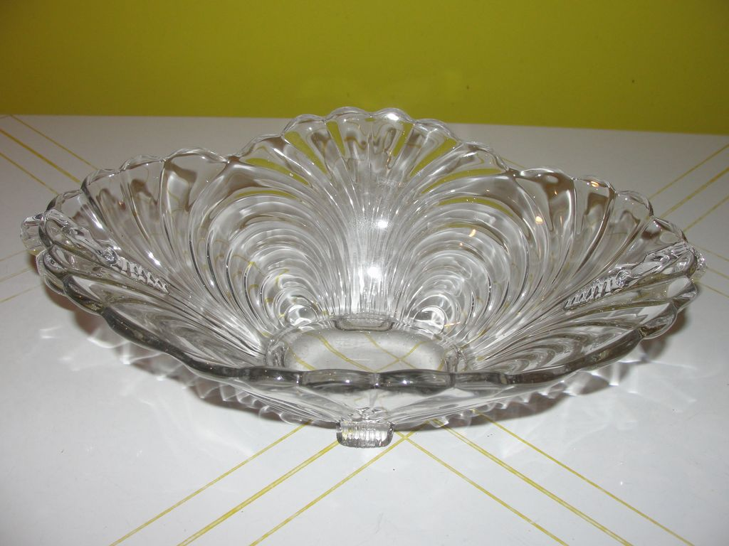 "Cambridge Glass ""Capri"" Oval Flared Edge Bowl with Handles - b53"