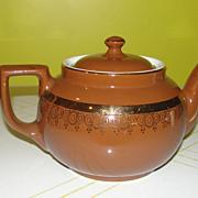 Hall 8-cup Brown with Gold Trim Tea Pot - b43