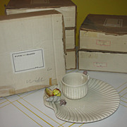 Fitz and Floyd Clam-shell with Seashells Luncheon Sets