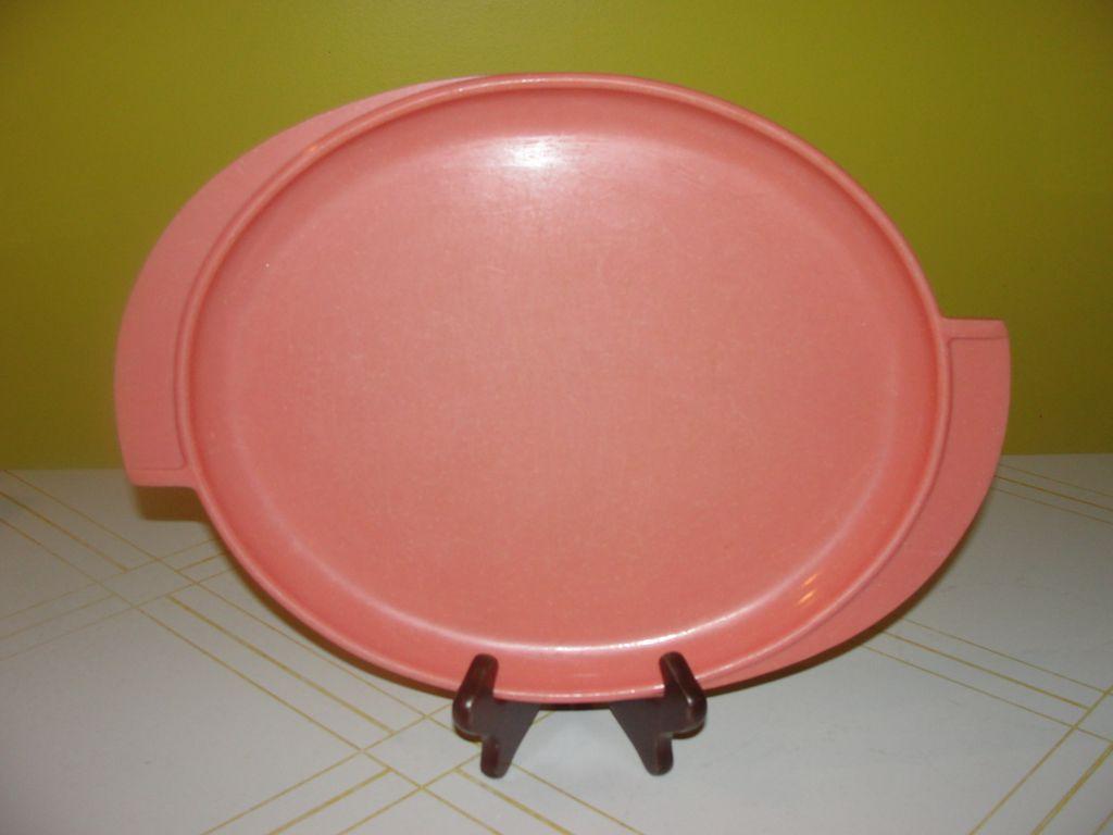 Mid-century classic coral Boonton Melmac/melamine Oval platter - b57