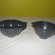 Mid-century Coal Black Boontonn Melmac/melamine Creamer and sugar bowl
